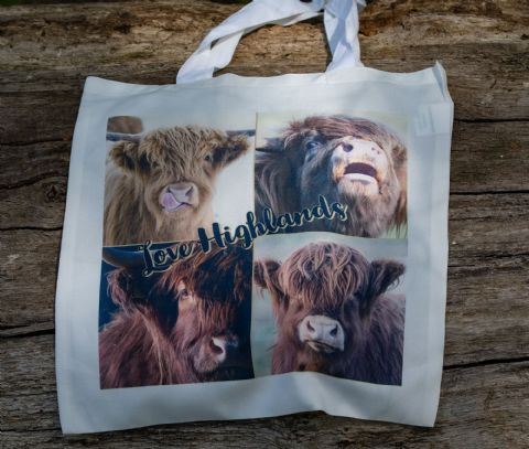 Highland Cattle 'Love Highlands' Soft Cotton Tote Bag
